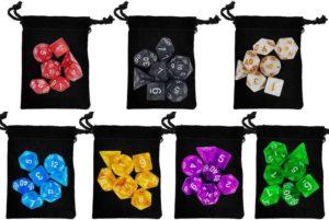 Sette sacchetti di dadi D&D poliedrici per D&D